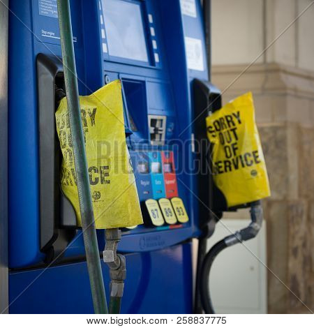 Houston, Texas, Usa, 07 September 2017: The Gas Pump Is Depleted. Hurricanes Harvey And Irma Caused