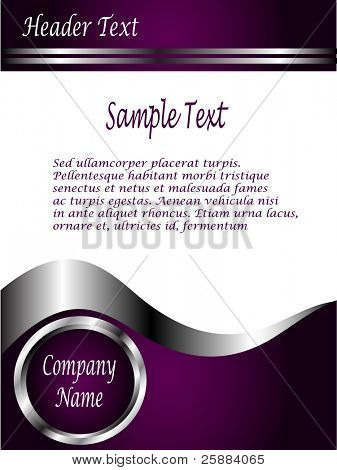 A deep purple and Silver Business card or Background Template