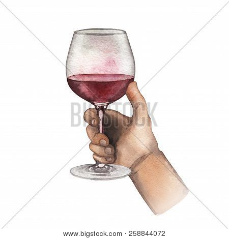 Watercolor Hand Holding Red Wine Glass Isolated On White Background