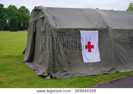 Enschede, Netherlands - May 13, 2017: Red Cross Military Field Hospital During The Dutch Military An