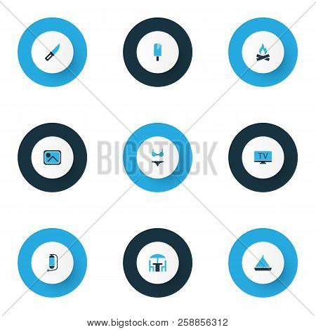 Tourism Icons Colored Set With Knife, Yacht, Bonfire And Other Bikini Elements. Isolated Vector Illu