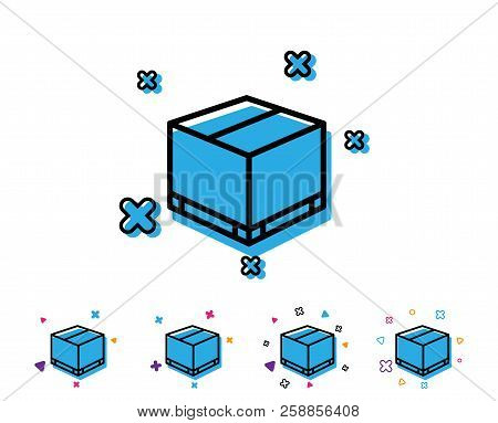 Parcel Box Line Icon. Logistics Delivery Sign. Package Tracking Symbol. Line Icon With Geometric Ele