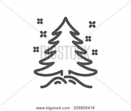 Christmas Tree Present Line Icon. New Year Spruce Sign. Fir-tree Symbol. Quality Design Element. Cla