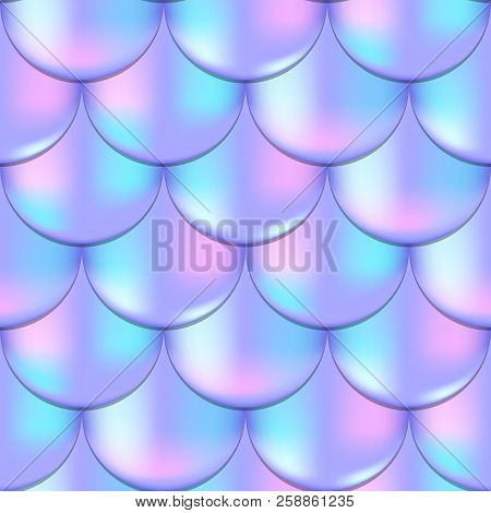 Mermaid Or Fish Scale Seamless Pattern With Holographic Effect. Girlish Mermaid Vector Background. P