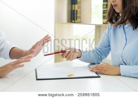 Closeup Of A Man Do Not Want To Signing Contract Or Premarital Agreement, Filling Petition Form Agre