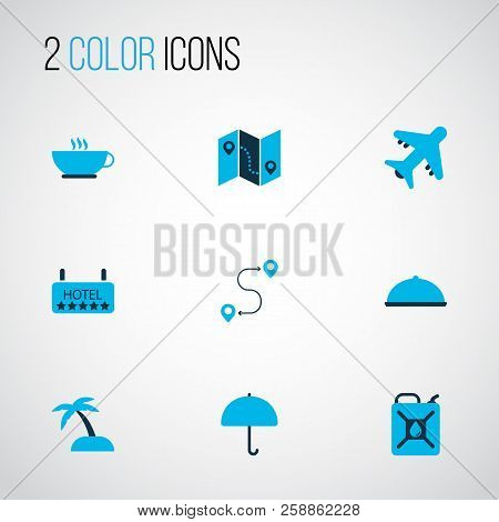 Journey Icons Colored Set With Map With Route, Food, Aircraft And Other Island Elements. Isolated  I