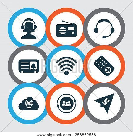 Communication Icons Set With Female Card, Headphone, Team Communication And Other Headset Elements.