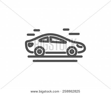 Car Transport Line Icon. Transportation Vehicle Sign. Driving Symbol. Quality Design Element. Classi