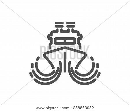 Ship In Waves Line Icon. Watercraft Transport Sign. Shipping Symbol. Quality Design Element. Classic