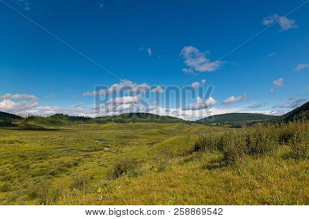 Green Hills Of The Altai Mountain In A Summer Day, Russia Green Grass, Different Size Hills, Blue Sk