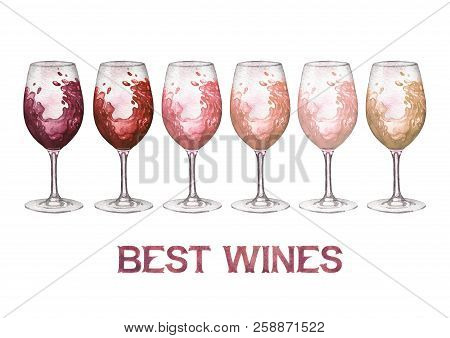 Watercolor Glasses Of Red, Rose And White Wines Isolated On White Background