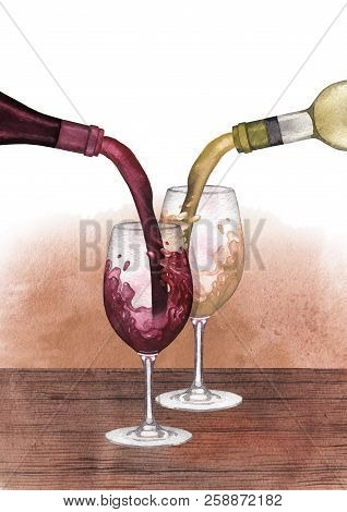 Watercolor Red, White And Rose Wines Pouring From Bottles Into Glasses Standing On A Wooden Table