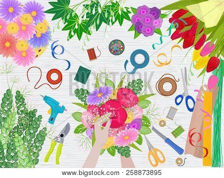 Floristics Vector Florists Hands Making Beautiful Floral Bouquet And Arranging Flowers In Flowershop