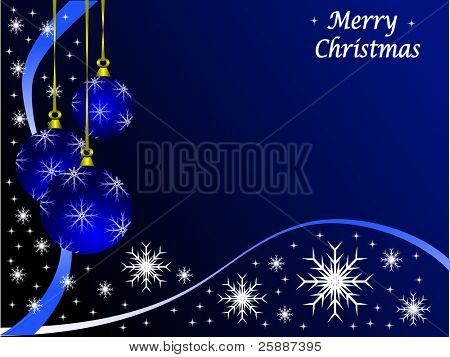 Christmas scene with baubles and snowflakes on a blue background