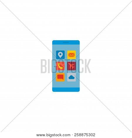 Mobile Apps Icon Flat Element.  Illustration Of Mobile Apps Icon Flat Isolated On Clean Background F