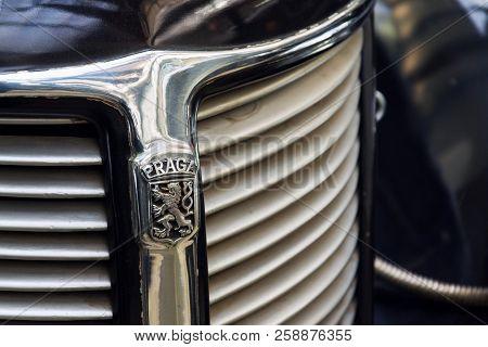 Prague, Czech Republic - March 8 2018: Vintage Veteran Car Praga Lady From Year 1938 Stands In Natio