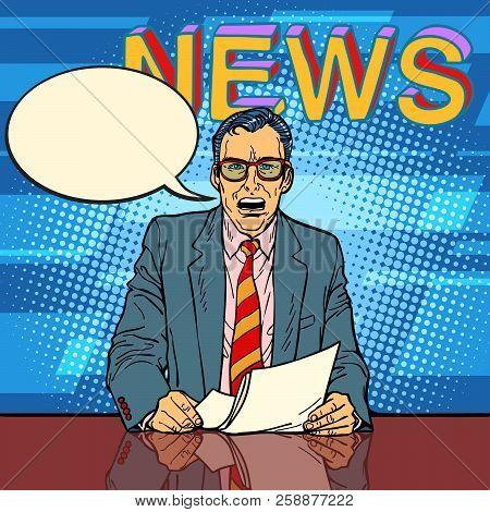 Male News Anchor Says Comic Book Bubble. Comic Cartoon Pop Art Retro Vector Illustration Drawing
