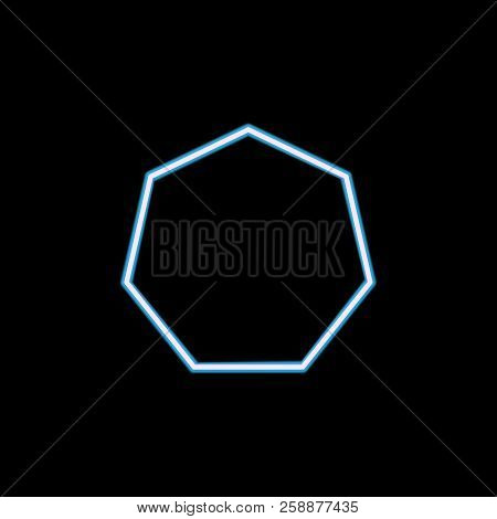 Heptagon Icon In Neon Style. One Of Geometric Figure Collection Icon Can Be Used For Ui, Ux