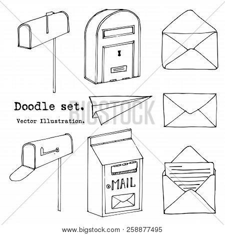Hand Drawn Mail, Post, Mailbox, Letter, Envelope, Paper Plane Set. Vector Illustration. Doodle Eleme