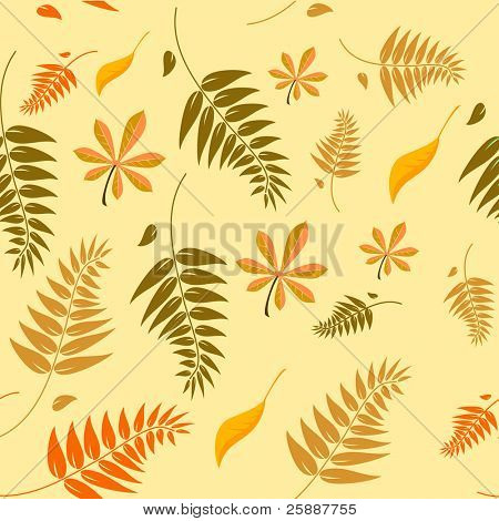 Seamless autumn leaves background with a range of different types of leaves in autumn colours which can be tiled seamlessly in all directions