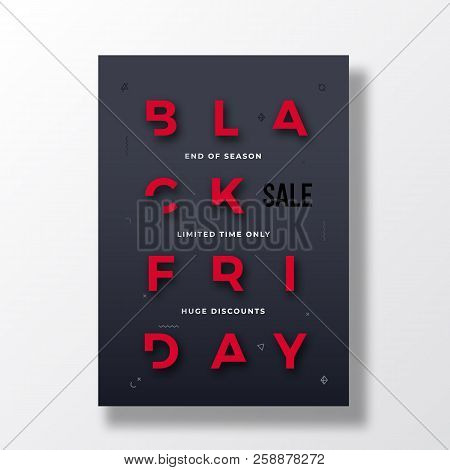 Black Friday Stylish Typography Banner, Poster Or Flayer Template. Creative Reduced Letters Concept.