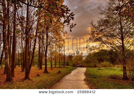 Autumn Park at Sunset, Novgorod the Great, Russia poster