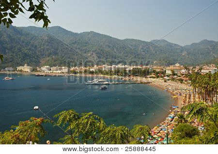 Beach resort with turquise sea shore
