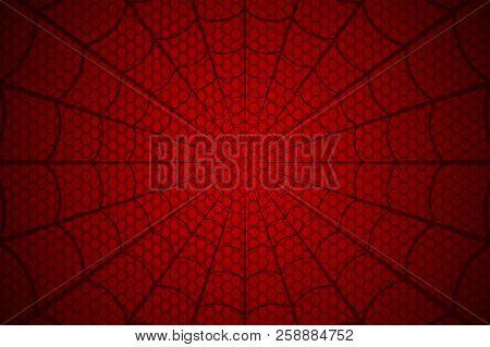 Spider Web. Cobweb On Red Background. Vector Illustration
