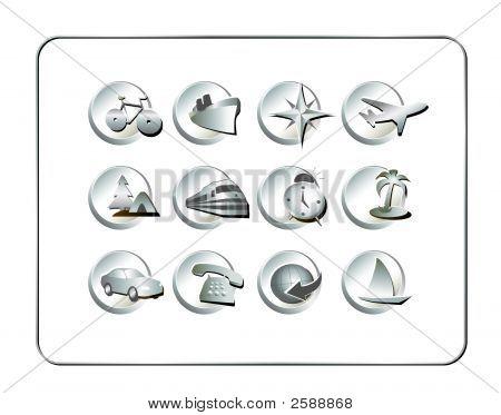 Travel Icon Set: Silver