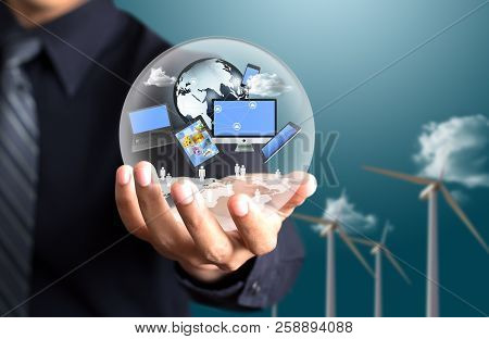 Businessman Present Crystal Ball With Network Connection Concept