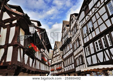 Street with Traditional Half-Timbered Houses