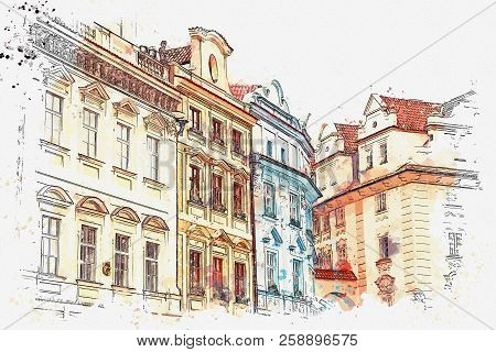 Illustration Or Watercolor Sketch. Traditional Old Architecture In Prague In The Czech Republic. Eur