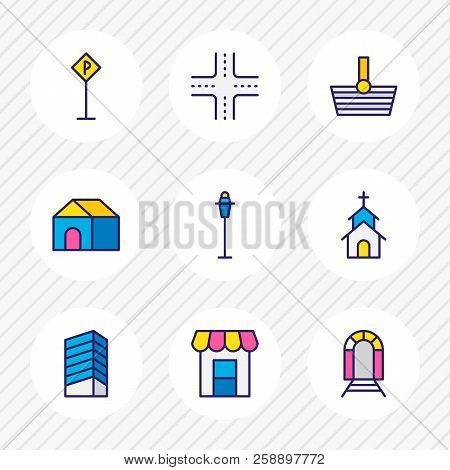 Vector Illustration Of 9 Infrastructure Icons Colored Line. Editable Set Of Storefront, Railway, Hou