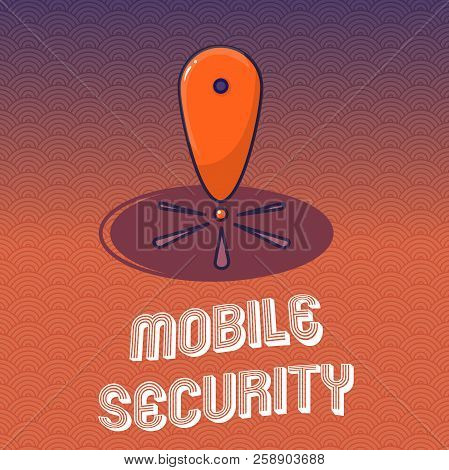Text Sign Showing Mobile Security. Conceptual Photo Protection Of Mobile Phone From Threats And Vuln