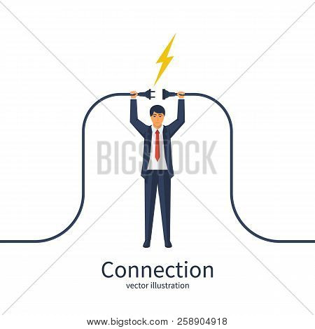 Connecting Power Socket. Businessman Connecting Hold Plug And Outlet In Hand. Vector Illustration Fl
