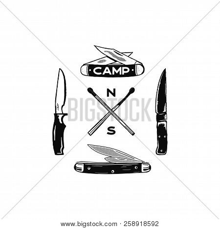 Vintage Hand Drawn Camping Adventure Icons. Hiking Shapes - Matches And Knifes. Retro Monochrome Des