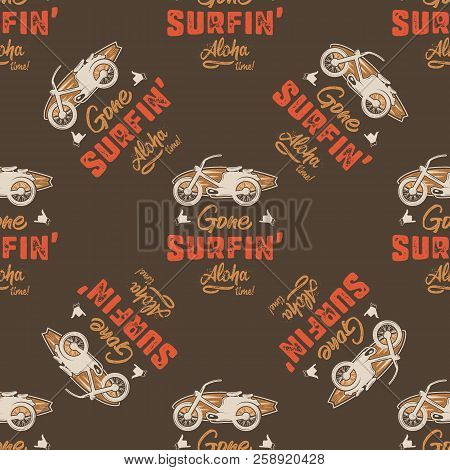 Surfing Car Pattern. Vintage Hand Drawn Surf Wagon With Surfboard Seamless Wallpaper. Aloha Time Quo