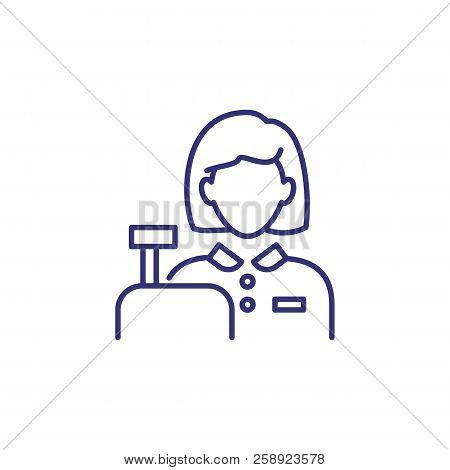 Cashier Line Icon. Woman And Cash Register. Occupation Concept. Can Be Used For Topics Like Hypermar