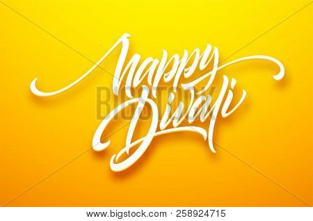 Happy Divali Festival Of Lights Black Calligraphy Hand Lettering Text Isolated On White Background.