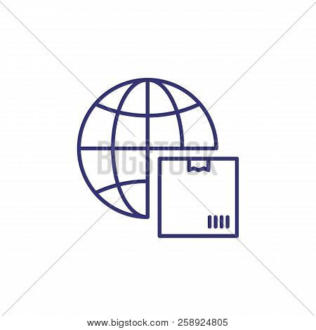International Delivery Line Icon. Globe And Parcel, Box, Package. Logistics Concept. Can Be Used For