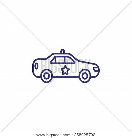 Police Car Line Icon. Patrol Vehicle, Cops, Emergency. Justice Concept. Can Be Used For Topics Like