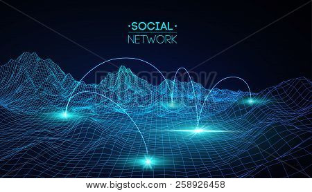 Network Concept Blue Vector Illustration. Futuristic Hexagon Vector Illustration. Futuristic Hexagon