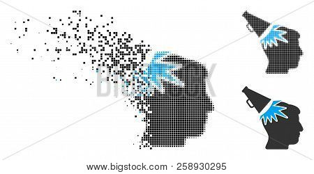 Megaphone impact head icon in dispersed, pixelated halftone and whole versions. Pixels are organized into vector dissolving megaphone impact head form. Disappearing effect uses rectangular scintillas. poster