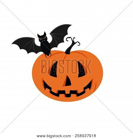 Halloween Pumpkin Vector Background. Illustration Of Halloween Pumpkin With Bats In White Background