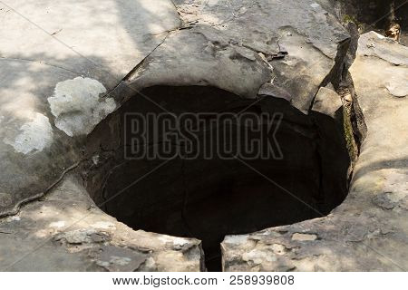 Water Hole In Solid Rock, Natural Landscape Formation. Geological Formation Of Stone Mountain. Water