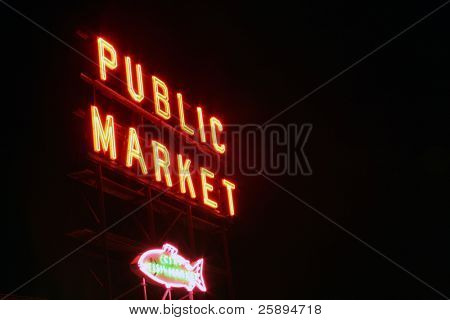 public market neon sign taken with a short time laps (bulb exposure) for effect