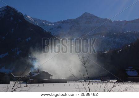 Winter Smoke And Mountains