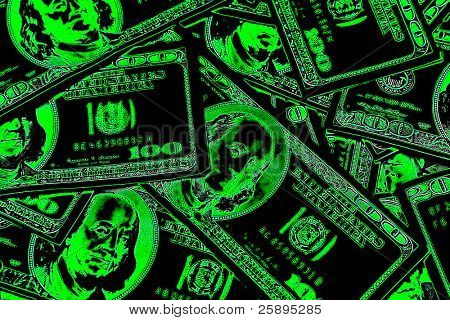 pop art version of one hunderd dollar bills piled high upon each other on a table