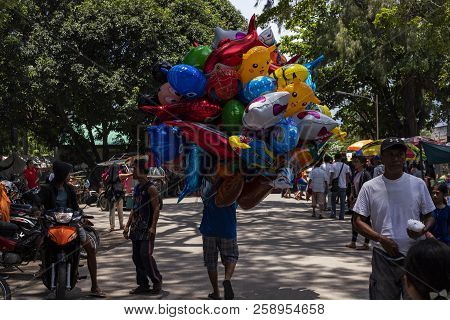 Dumaguete, The Philippines - 10 September 2018: People Celebrating Local Festival Fiesta. Colorful A