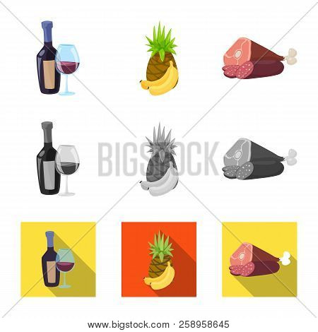 Vector Design Of Food And Drink Logo. Set Of Food And Store Vector Icon For Stock.